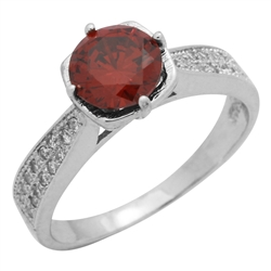 RCZ104088-GA Sterling Silver Red Garnet CZ Ladies Ring