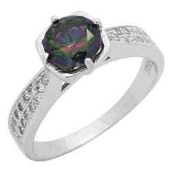 RCZ104088-MY Sterling Silver Rainbow Mystic CZ Ladies Ring