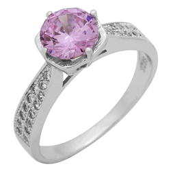 RCZ104088-PI Sterling Silver Pink CZ Ladies Ring