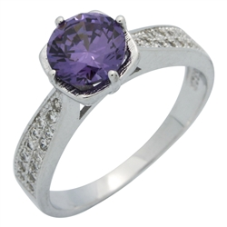 RCZ104088-PU Sterling Silver Purple CZ Ladies Ring