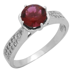 RCZ104088-RU Sterling Silver Red Ruby CZ Ladies Ring