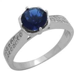 RCZ104088-SA Sterling Silver Blue Sapphire CZ Ladies Ring