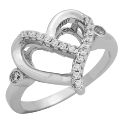 RCZ104091 - Sterling Silver CZ Heart Ladies Ring