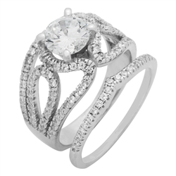 RCZ104092 - Sterling Silver CZ Wedding Ring Set