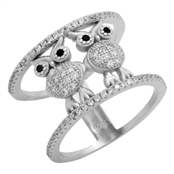 RCZ104094 - Sterling Silver CZ Owl Ring