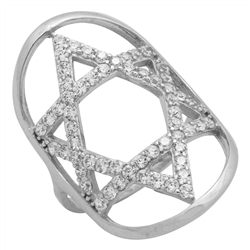 RCZ104097 - Sterling Silver CZ Big Star of David Ring