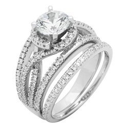 RCZ104098 - Sterling Silver CZ Ladies Wedding Ring Set