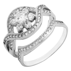 RCZ104099 - Sterling Silver CZ Wedding Ring Set