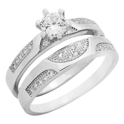 RCZ104102 - Sterling Silver CZ Wedding Ring Set