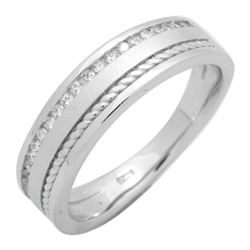 RCZ104125 - Sterling Silver CZ Half Eternity Rope Design Mens Band Ring