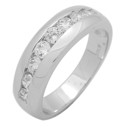 RCZ104126 - Sterling Silver 8mm CZ Mens Band Ring