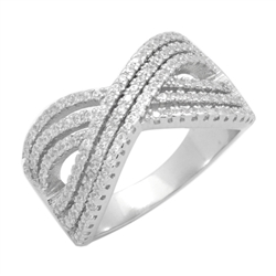 RCZ104130 - Sterling Silver CZ Micropave Criss Cross Ring