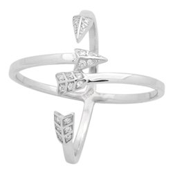 RCZ104131 - Sterling Silver CZ Micropave Criss Cross Arrow Ring