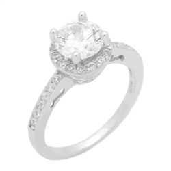 RCZ104132 - Sterling Silver CZ Micropave Halo Design Ring
