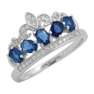 RCZ104133-BS - Sterling Silver Blue CZ Micropave Crown Ring