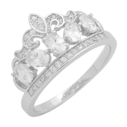 RCZ104133-CL - Sterling Silver CZ Micropave Crown Ring