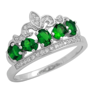 RCZ104133-EM - Sterling Silver Green CZ Micropave Crown Ring