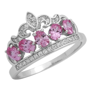 RCZ104133-PI - Sterling Silver Pink CZ Micropave Crown Ring