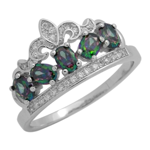 RCZ104133-RT - Sterling Silver Green CZ Micropave Crown Ring