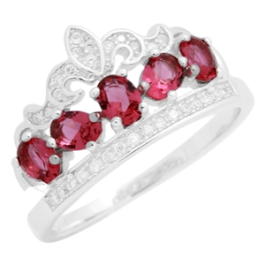 RCZ104133-RU - Sterling Silver Red Ruby CZ Micropave Crown Ring