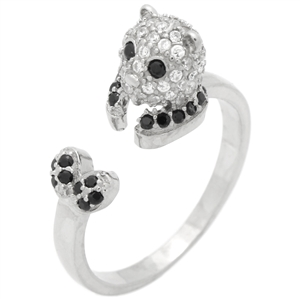 RCZ104144 - Sterling Silver Cat Ring Black CZ