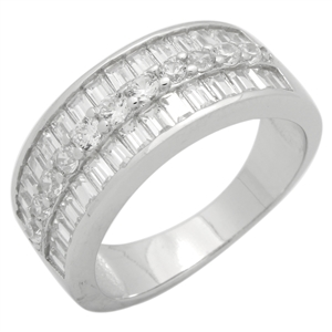 RCZ104145 - Sterling Silver CZ Baguette Band Ring 8mm