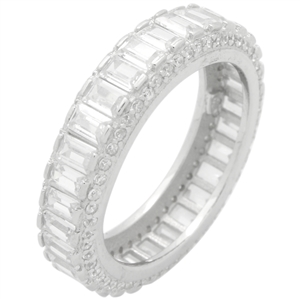 RCZ104146 - Sterling Silver CZ Baguette Eternity Band Ring 6mm