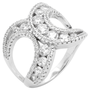 RCZ104147 - Sterling Silver CZ X Ring 6mm