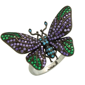 RCZ104149 - Sterling Silver CZ Big Butterfly Ring
