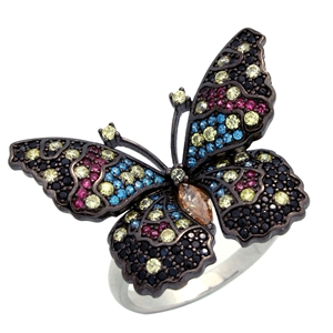RCZ104150 - Sterling Silver CZ Big Butterfly Ring