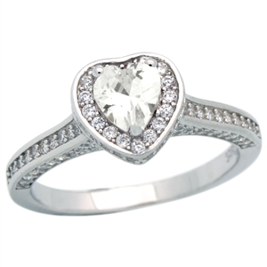 RCZ104151-CL - Sterling Silver Micropave CZ Solitaire Ring