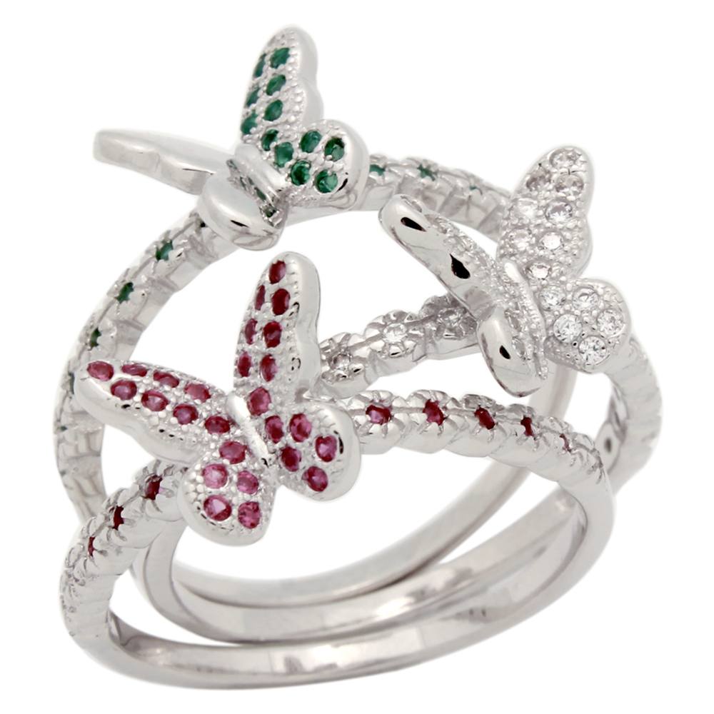 RCZ104153 - Sterling Silver 3 Butterfly CZ Rings