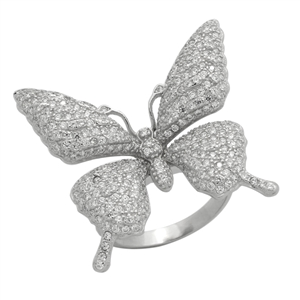 RCZ104151 - Sterling Silver CZ Big Butterfly Ring