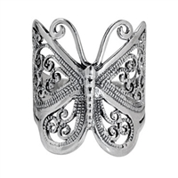 RPS1001 Silver Plain Butterfly Ring