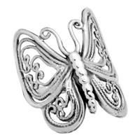 RPS1001-M Silver Plain Butterfly Ring Medium