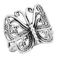 RPS1001-S Silver Plain Butterfly Ring Small