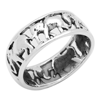 RPS1002 Silver Plain Elephant Band Ring