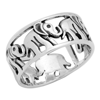 RPS1003 Silver Plain Elephant Band Ring