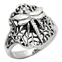 RPS1006 Silver Plain Dragonfly Ring