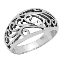 RPS1009 Silver Plain Filigree Design Ring