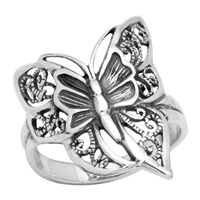 RPS1010 Silver Plain Filigree Butterfly Ring