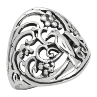 RPS1012 Silver Plain Filigree ird Flower Oval Ring