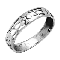 RPS1013 Silver Plain Flower Filigree Band Ring
