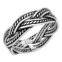 RPS1015 Silver Plain Oxidize Braided Ring