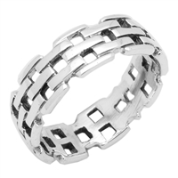 RPS1016 Silver Plain Bismark Band Ring