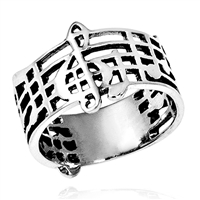 RPS1018 Silver Plain Music Band Ring