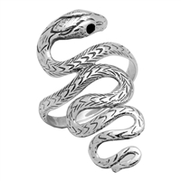 RPS1024 Silver Plain Long Snake Ring