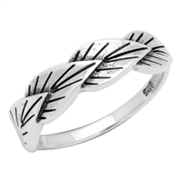 RPS1027 Silver Plain Leaves Band Ring