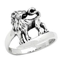RPS1029 Silver Plain Lion Ring