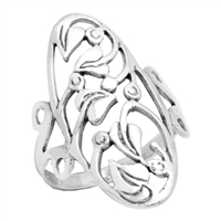 RPS1031 Silver Plain Long Vines Ring